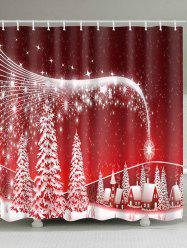 Christmas Snowscape Print Waterproof Polyester Bath Curtain