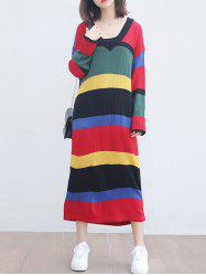 Colorful Striped V Neck Knitted Maxi Dress -