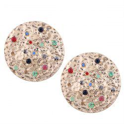 Vintage Metal Rhinestone Round Earrings -