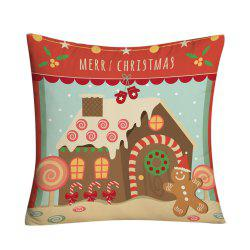 Christmas Candy House Printed Decorative Throw Pillow Case -