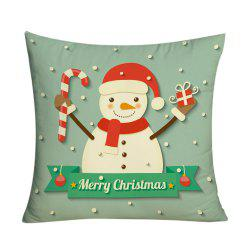 Christmas Snowman Pattern Square Decorative Pillowcase -