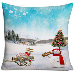 Christmas Snowscape Printed Decorative Throw Pillow Case -