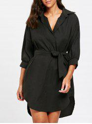 High Low Knee Length Belted Dress -