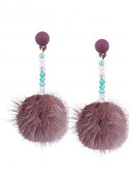 Artificial Fur Ball Beaded Drop Earrings -