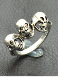 Engraved Skulls Punk Finger Ring -