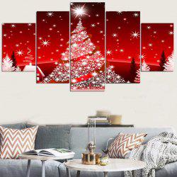 Christmas Trees Star Pattern Wall Stickers For Living Room - Red - 1pc:8*20,2pcs:8*12,2pcs:8*16 Inch( No Frame )