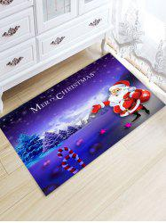 Santa Claus Pattern Christmas Nonslip Flannel Bath Rug -