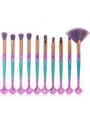 10Pcs Multifunctional Shell Shaped Embellished Makeup Brushes Set -