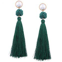 Faux Pearl Tassel Rope Knot Earrings -