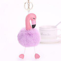 Cute Flamingo Heart Fuzzy Ball Keychain -