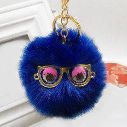 Cute Faux Fur Eyes Glasses Ball Keychain -