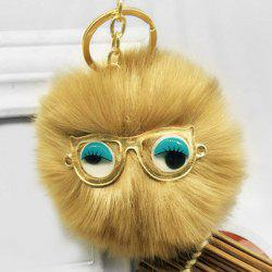Mignon fausse fourrure yeux Lunettes Ball Keychain -