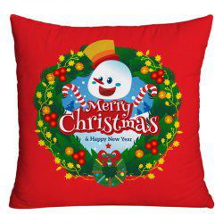 Merry Christmas Wreath Printed Decorative Pillow Case -