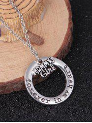 Collier Motif Cercle Gravé Inscription de la Famille Forever In My Heart -