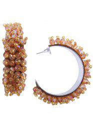 Faux Crystal Half Circle Beaded Earrings -