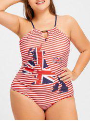 Halter Striped Map Print Plus Size Swimwear -