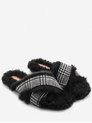 Houndstooth Faux Fur Cross Strap Slippers -