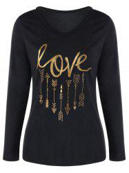 Long Sleeve V Neck Graphic Tee -