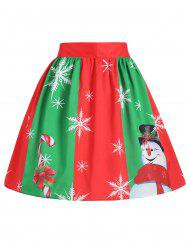 Plus Size Christmas Snowflake Snowman Skirt - Red And Green - 2xl