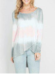 Tie-dyed Printed Long Sleeve Ombre T-shirt -