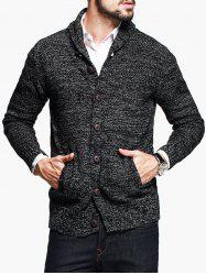 Shawl Collar Woolen Yarn Button Up Cardigan -