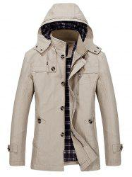 Multi Pockets Single Breasted Zip Up Coat -