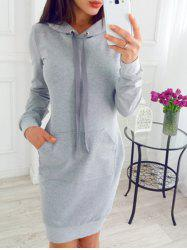 Drawstring Sheath Hoodie Dress -