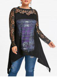 Plus Size Lace Yoke Crescent Hem Longline Top -