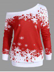 Plus Size One Shoulder Snowflake Christmas Sweatshirt -