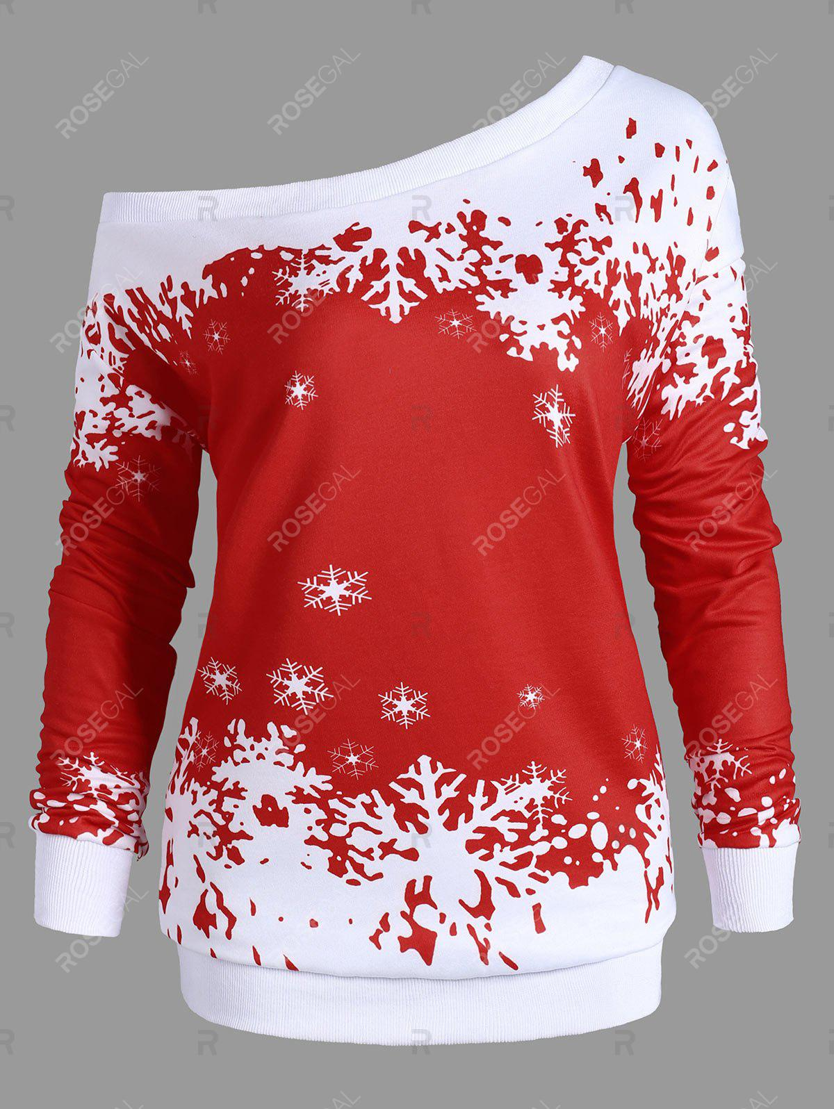Store Plus Size One Shoulder Snowflake Christmas Sweatshirt