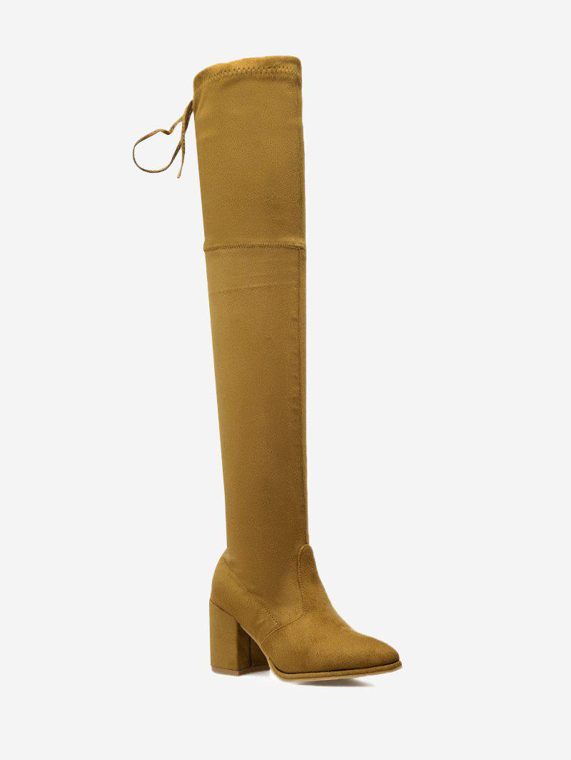 Sale Pointed Toe Block Heel Thigh High Boots