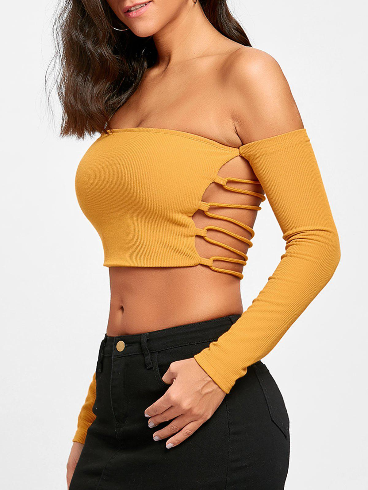 Buy Backless Lace Up Long Sleeve Crop Top