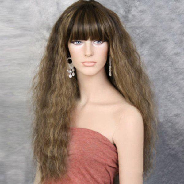 Long Full Bang Fluffy Colormix Wavy Synthetic WigHAIR<br><br>Color: LIGHT BROWN; Type: Full Wigs; Cap Construction: Capless (Machine-Made); Style: Wavy; Material: Synthetic Hair; Bang Type: Full; Length: Long; Length Size(CM): 65; Weight: 0.2900kg; Package Contents: 1 x Wig;