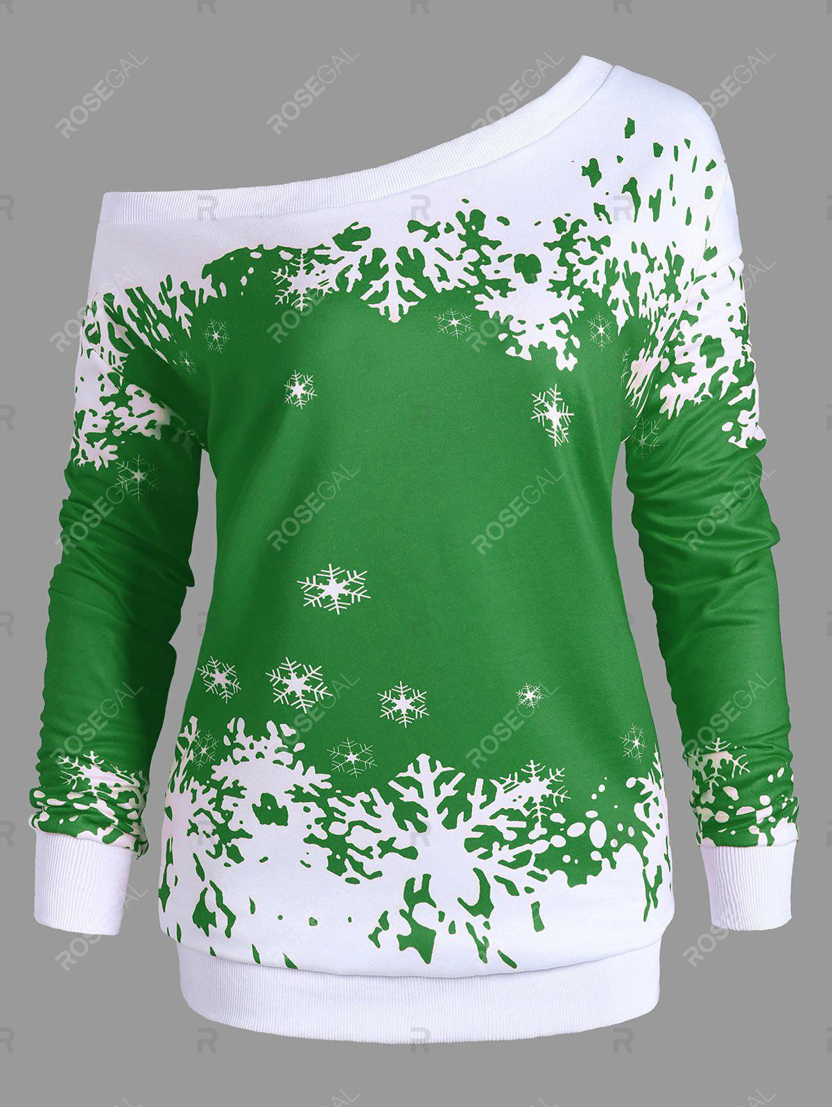 Plus Size One Shoulder Snowflake Christmas SweatshirtWOMEN<br><br>Size: 3XL; Color: GREEN; Material: Polyester,Spandex; Shirt Length: Long; Sleeve Length: Full; Style: Fashion; Pattern Style: Others; Season: Fall,Spring; Weight: 0.4200kg; Package Contents: 1 x Sweatshirt;