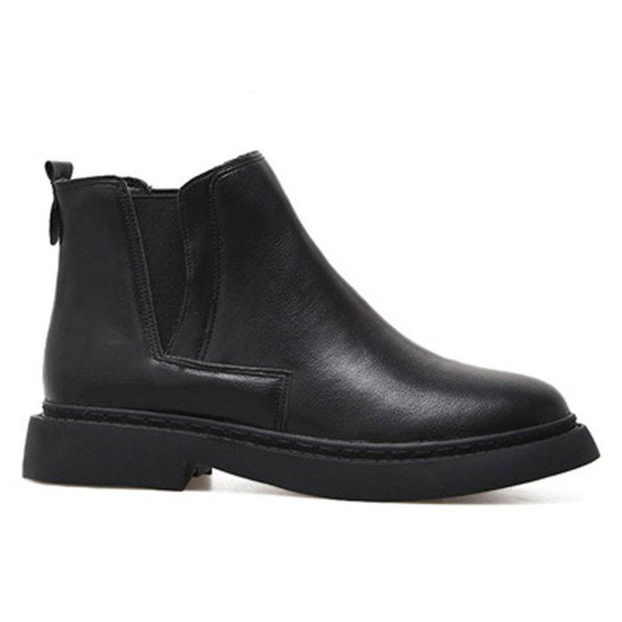 Unique Stacked Heel Round Toe Chelsea Boots