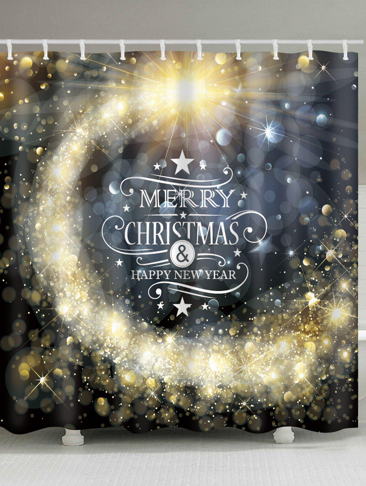 Merry Christmas Star Print Waterproof Fabric Bathroom Shower CurtainHOME<br><br>Size: W59 INCH * L71 INCH; Color: COLORMIX; Products Type: Shower Curtains; Materials: Polyester; Pattern: Letter; Style: Festival; Number of Hook Holes: W59 inch*L71 inch: 10; W71 inch*L71 inch: 12; W71 inch*L79 inch: 12; Package Contents: 1 x Shower Curtain 1 x Hooks (Set);