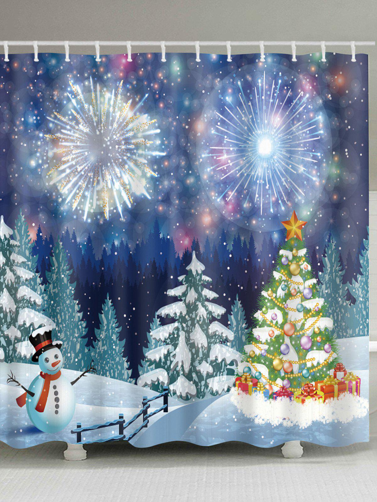 Christmas Forest Firework Print Waterproof Bathroom Shower CurtainHOME<br><br>Size: W71 INCH * L79 INCH; Color: COLORMIX; Products Type: Shower Curtains; Materials: Polyester; Pattern: Christmas Tree,Forest,Snowman; Style: Festival; Number of Hook Holes: W59 inch*L71 inch: 10; W71 inch*L71 inch: 12; W71 inch*L79 inch: 12; Package Contents: 1 x Shower Curtain 1 x Hooks (Set);