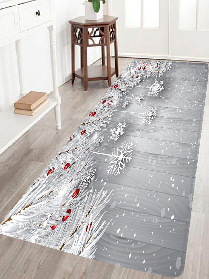 Christmas Snowflake Print Skidproof Flannel Bath MatHOME<br><br>Size: W24 INCH * L71 INCH; Color: SILVER GRAY; Products Type: Bath rugs; Materials: Flannel; Pattern: Plant,Snowflake; Style: Festival; Shape: Rectangular; Package Contents: 1 x Rug;