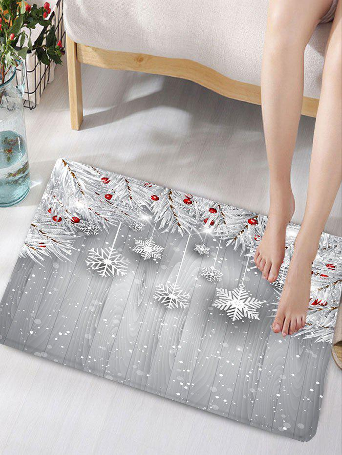 Christmas Snowflake Print Skidproof Flannel Bath MatHOME<br><br>Size: W16 INCH * L24 INCH; Color: SILVER GRAY; Products Type: Bath rugs; Materials: Flannel; Pattern: Plant,Snowflake; Style: Festival; Shape: Rectangular; Package Contents: 1 x Rug;