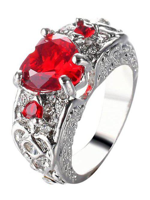 Faux Gem Engraved Heart Finger RingJEWELRY<br><br>Size: 9; Color: RED; Gender: For Women; Material: Rhinestone; Metal Type: Alloy; Style: Trendy; Shape/Pattern: Heart; Weight: 0.0300kg; Package Contents: 1 x Ring;