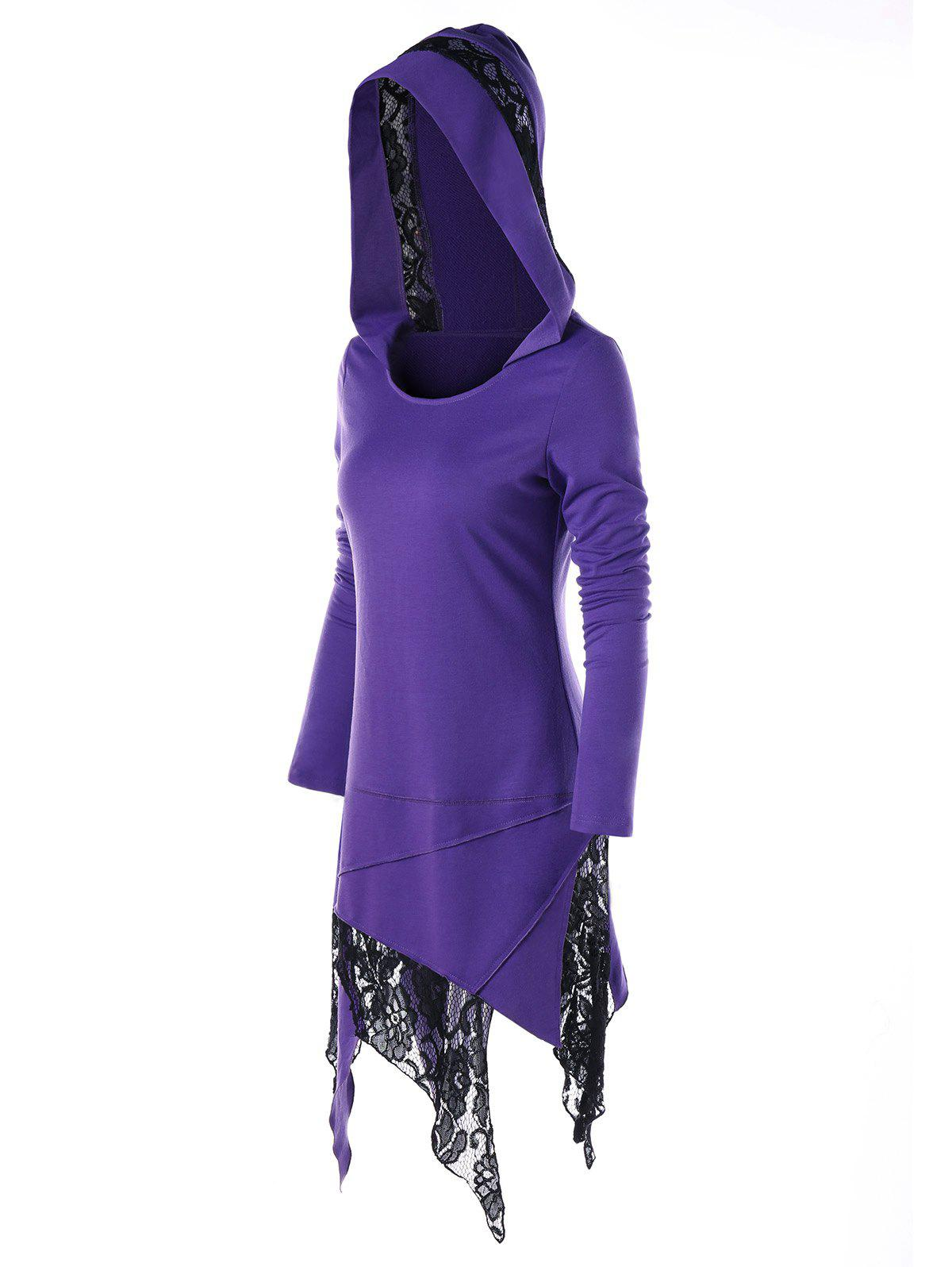 Asymmetrical Lace Panel Midi Hoodie DressWOMEN<br><br>Size: M; Color: PURPLE; Style: Casual; Material: Polyester; Silhouette: Asymmetrical; Dresses Length: Mid-Calf; Neckline: Hooded; Sleeve Length: Long Sleeves; Pattern Type: Patchwork; With Belt: No; Season: Fall,Spring; Weight: 0.4000kg; Package Contents: 1 x Dress;