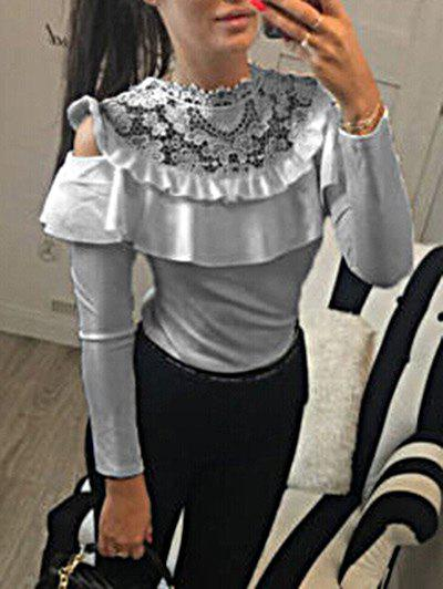 Online Mock Neck Lace Panel Ruffle Top