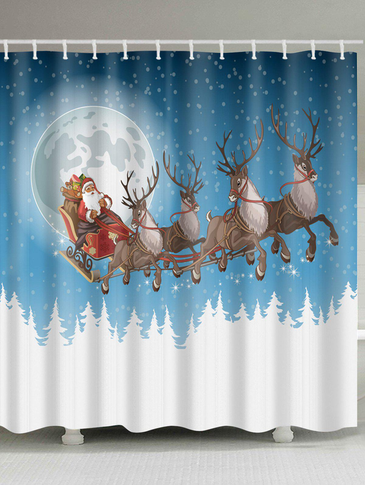 Christmas Moon Deer Sleigh Print Waterproof Bathroom Shower CurtainHOME<br><br>Size: W71 INCH * L79 INCH; Color: COLORMIX; Products Type: Shower Curtains; Materials: Polyester; Pattern: Animal,Moon,Santa Claus; Style: Festival; Number of Hook Holes: W59 inch*L71 inch: 10; W71 inch*L71 inch: 12; W71 inch*L79 inch: 12; Package Contents: 1 x Shower Curtain 1 x Hooks (Set);