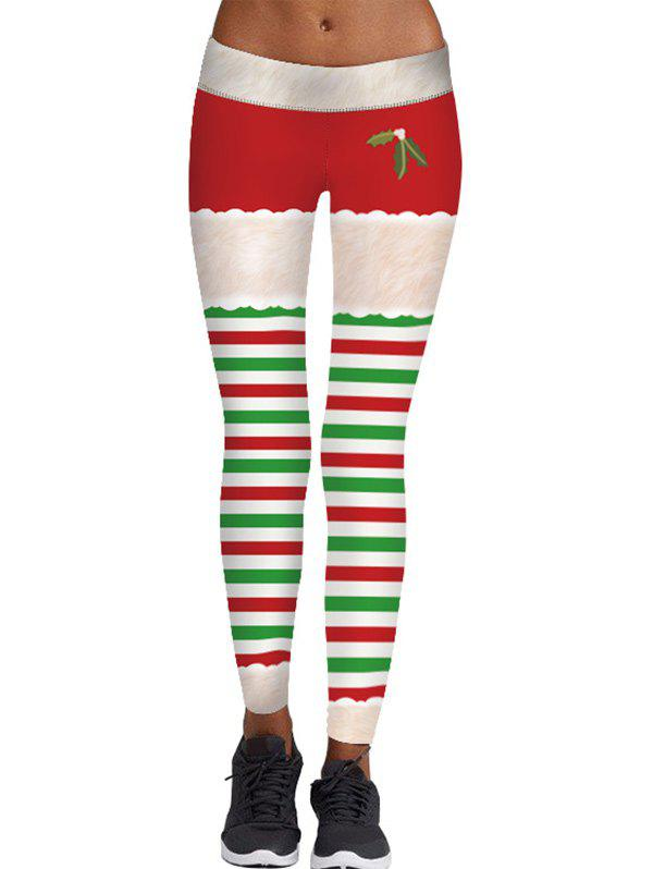 New Christmas Berry Print Striped Skinny Leggings