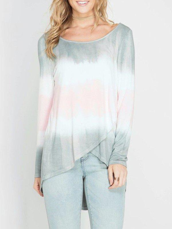 Shop Tie-dyed Printed Long Sleeve Ombre T-shirt