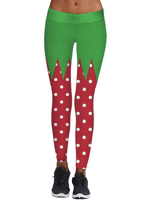 Christmas Color Block Polka Dot Print LeggingsWOMEN<br><br>Size: M; Color: COLORMIX; Style: Casual; Material: Polyester,Spandex; Waist Type: Mid; Pattern Type: Polka Dot; Weight: 0.3000kg; Package Contents: 1 x Leggings;
