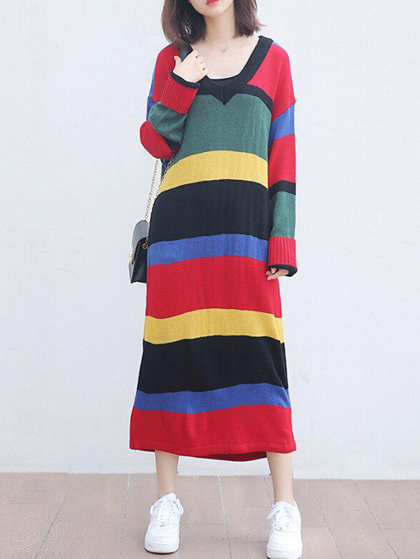 Sale Colorful Striped V Neck Knitted Maxi Dress