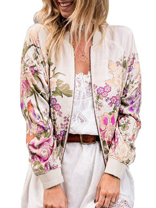 Trendy Flower Printed Zip Up Jacket