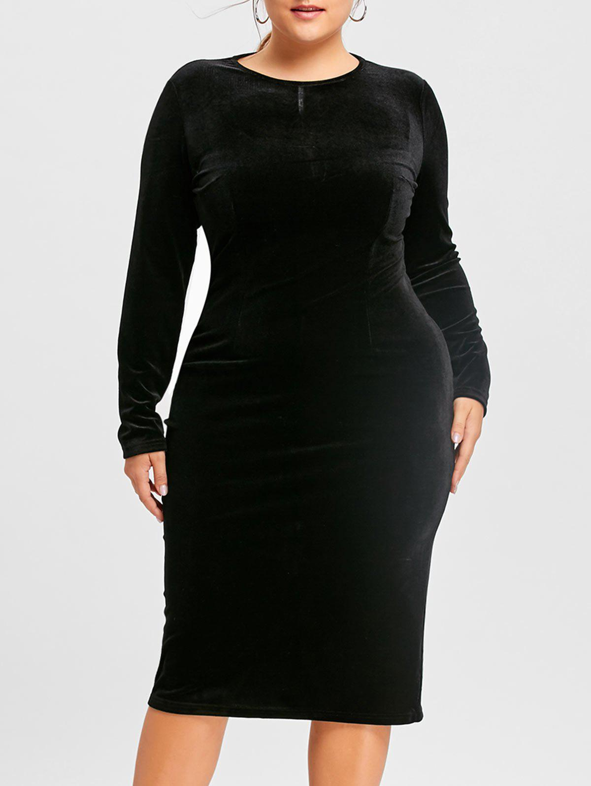 Velvet Long Sleeve Plus Size DressWOMEN<br><br>Size: 6XL; Color: BLACK; Style: Casual; Material: Polyester; Silhouette: Bodycon; Dresses Length: Mid-Calf; Neckline: Round Collar; Sleeve Length: Long Sleeves; Pattern Type: Solid Color; With Belt: No; Season: Fall,Spring; Weight: 0.4800kg; Package Contents: 1 x Dress;