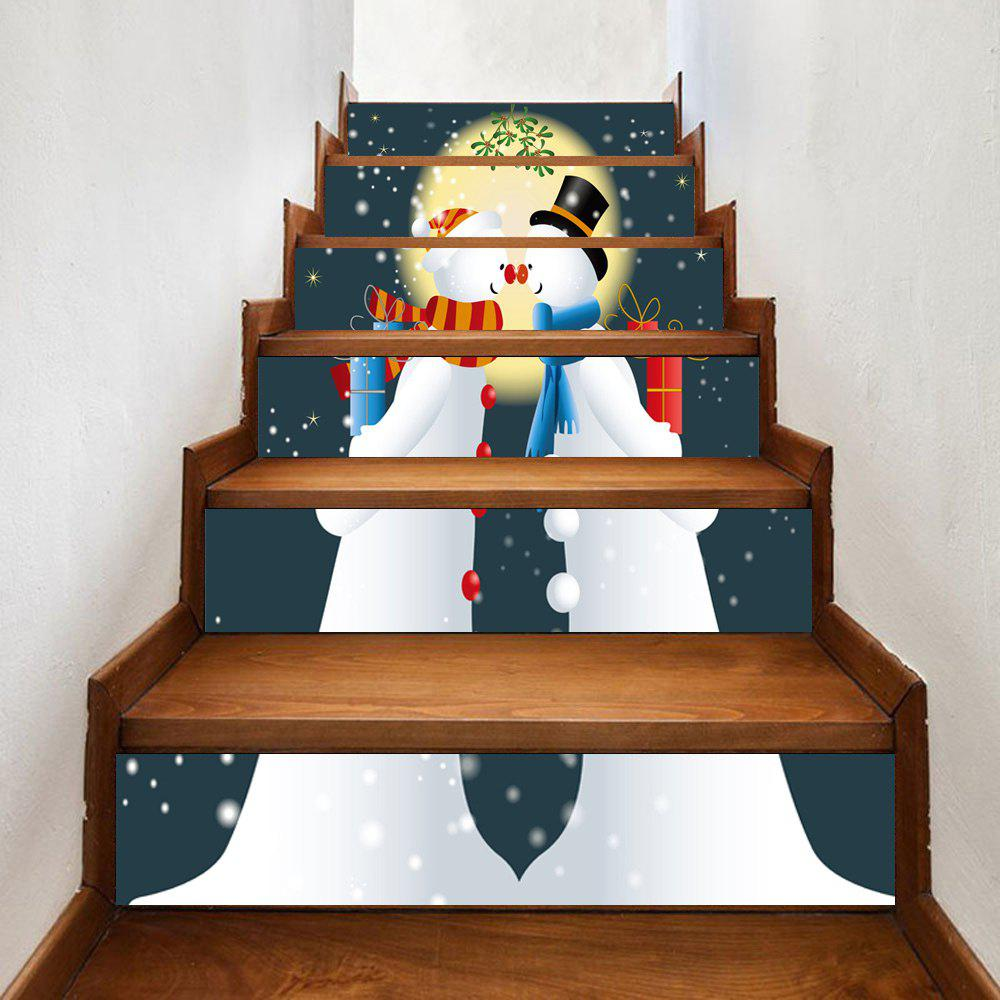 Christmas Snowmen Lovers Pattern Decorative Stair StickersHOME<br><br>Size: 100*18CM*6PCS; Color: WHITE; Wall Sticker Type: Plane Wall Stickers; Functions: Stair Stickers; Theme: Christmas; Pattern Type: Moon,Snowman; Material: PVC; Feature: Removable; Weight: 0.3500kg; Package Contents: 1 x Stair Stickers;